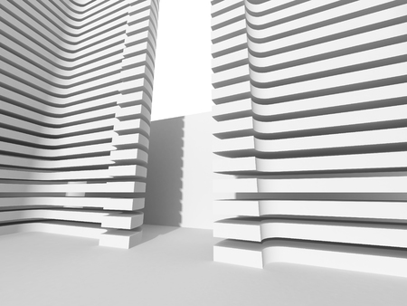 architecture abstract: Abstract Modern White Architecture Background. 3d Render Illustration Stock Photo