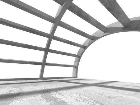 render: Empty Interior. White Architecture Background. 3d Render Illustration