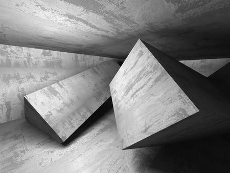 black wall: Empty concrete room. Geometric architecture background. 3d render illustration
