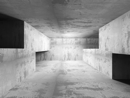 Empty dark concrete room interior. Architecture urban background. 3d render illustration