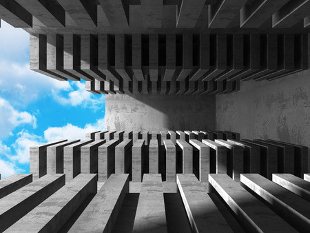 Abstract Concrete Architecture on Sky Background. 3d Render Illustration