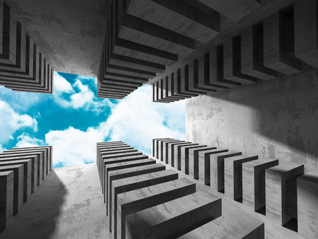 architecture abstract: Concrete architecture background. Abstract Building modern design. Cloudy sky. 3d render illustration Stock Photo