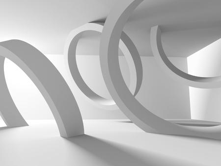 modern architecture: White Abstract Modern Architecture Interior Background. 3d Render Illustration Stock Photo