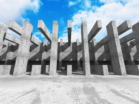 Concrete geometric architecture abstract background with cloudy sky. 3d render illustration