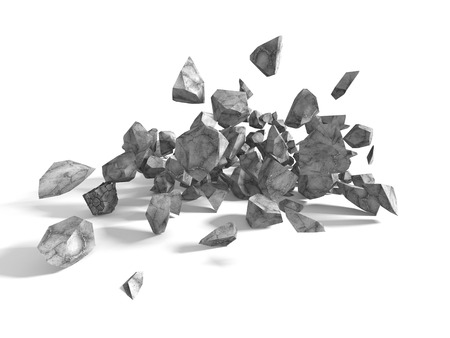 Group of rocks and stones boulders on white background. 3d render illustration Stock Photo
