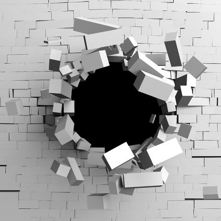 흰색 깨진 된 벽돌 벽의 파괴 구멍. 3d 렌더링 일러스트 레이션