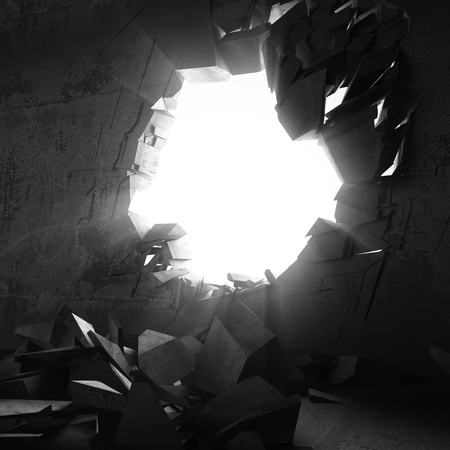 blow hole: Cracked big hole in broken concrete wall to light. 3d render illustration