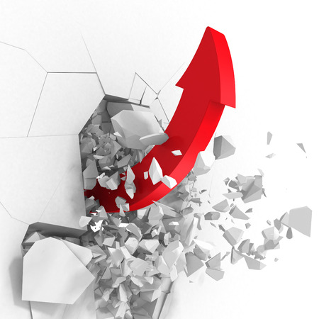 Red success arrow breaking white wall hole. 3d render illustration