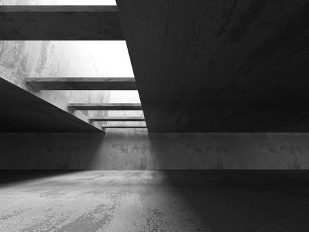 moody: Empty Dark Concrete Room Interior Background. 3d Render Illustration