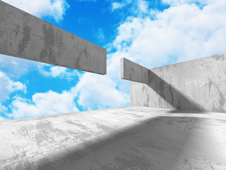 Concrete architecture background. Abstract empty room with sky. 3d render illustration