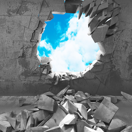 hole: Cracked damage hole in concrete wall to cloudy sky. 3d render illustration