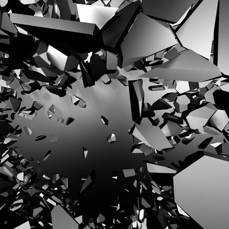Chaotic metallic fragments of destruction explosion wall. Abstract background. 3d render illustration Stock Photo