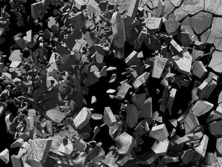 Destruction demolition concrete wall fragments of explosion. Abstract background. 3d render illustration Archivio Fotografico