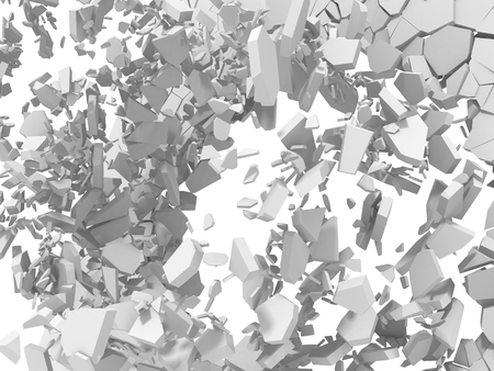 Explosion destruction of white wall. Chaotic fragments of surface.Abstract background. 3d render illustration