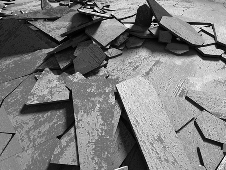 Dark concrete destruction surface with many chaotic broken pieces. Abstract background. 3d render illustration Stock Photo