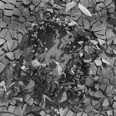 unsound: Cracked broken concrete wall. Abstract background. 3d render illustration