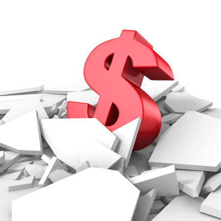 economic forecast: Growing Dollar Currency Symbol Out From Crack Hole. 3d Render Illustration