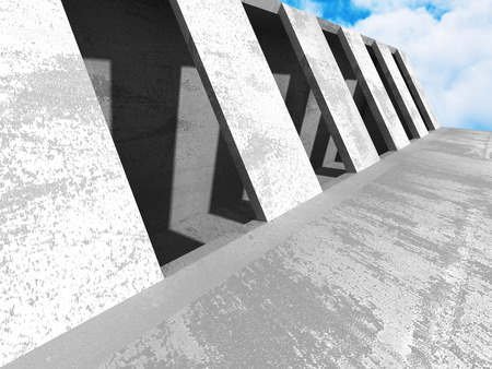moody: Concrete architecture wall construction on cloudy sky background. 3d render illustration