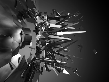 shattered: Breaking and shattered glass pieces explosion. Abstract background. 3d render illustration