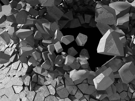 rebuild: Concrete chaotic explosion demolition abstract background. 3d render illustration Stock Photo