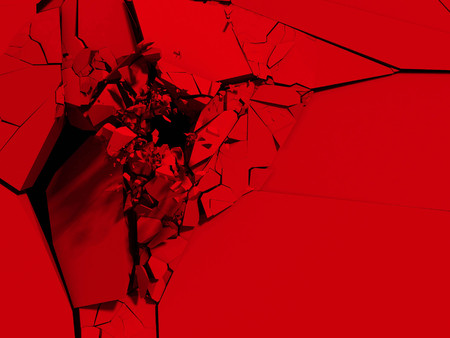 Red cracked surface background. Broken shape wall destruction. 3d render illustration Stock Photo