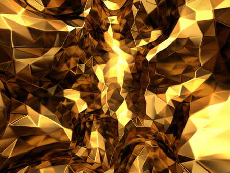 Abstract gold mesh polygon pattern texture background. 3d render illustration