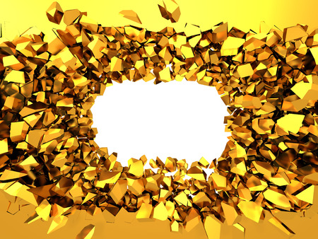 Golden broken wall with explosion hole. Abstract background. 3d render illustration