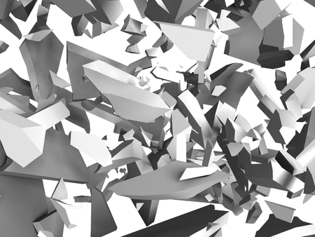 raze: Explosion destruction of white wall. Chaotic fragments of surface.Abstract background. 3d render illustration