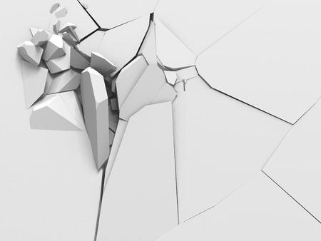 raze: Demolition destruction explision of white wall hole. Abstract background. 3d render illustration