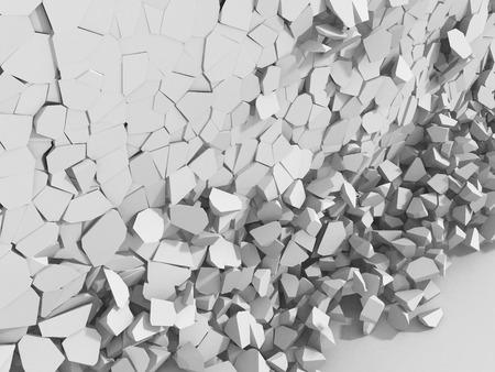 raze: Destructed white cracked wall. Abstract demolition background. 3d render illustration