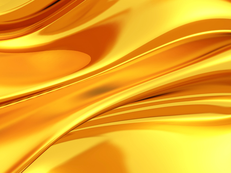 Golden silk cloth glossy waves luxury background. 3d render illustration