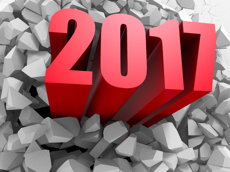 New Year 2017 red numders from explosion white wall. 3d render illustration