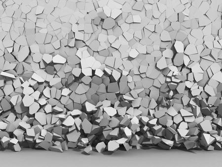 raze: White broken cracked surface destruction wall. 3d render ilustration