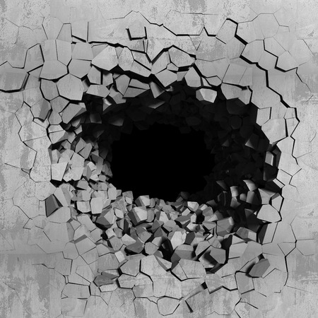 Dark concrete cracked hole. Explosion destruction of wall. 3d render illustration