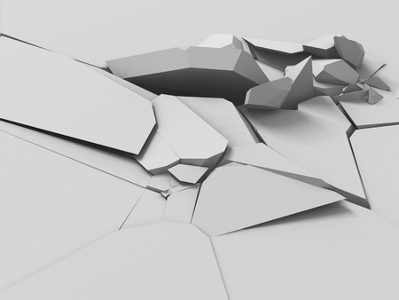 Cracked white ground surface. Destruction background. 3d render illustration Stock Photo