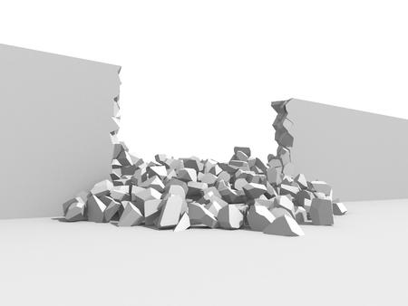 Damage cracked destructed white wall. 3d render illustration