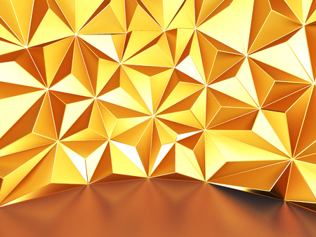 Golden wall with triangle poligons chaotic pattern. Abstract background. 3d render illustration