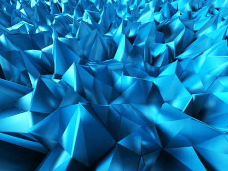 Abstract blue chaotic relief geometric poligon background. 3d render illustration