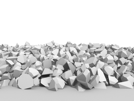 raze: White cracked rock pieces of destruction wall. 3d render illustration Stock Photo