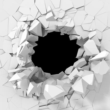 pared rota: destrucción oscuro agrietado agujero en la pared de piedra blanca. 3d ilustración