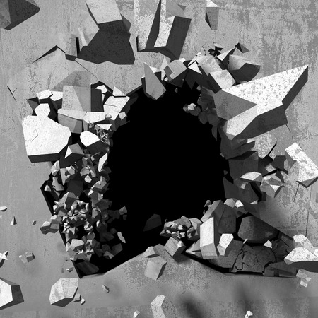 hole: Cracked explosion concrete wall hole abstract background. 3d render illustration Stock Photo