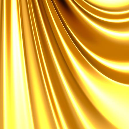 Luxury golden silk satin cloth waves background. 3d render illustration