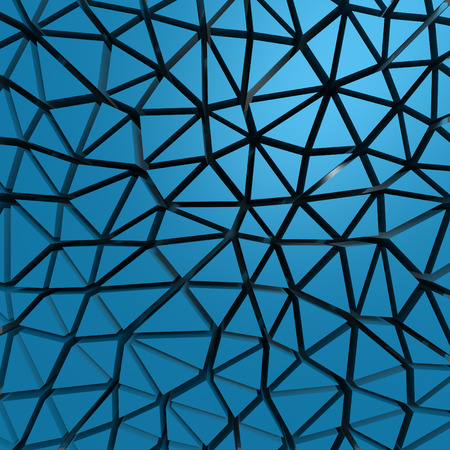 tessellated: Blue abstract low poly pattern wall background. 3d render illustration