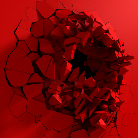 Red destruction abstract explosion background. 3d render illustration