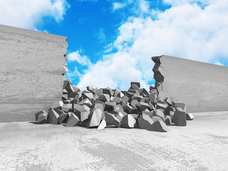 cleft: Cracked damage hole in concrete wall to cloudy sky. 3d render illustration