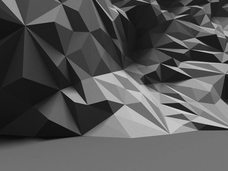 render: Abstract interior with polygonal chaotic wall pattern. 3d render illustration
