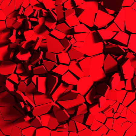 Demolition explosion chaotic fragments of red broken wall. Abstract background. 3d render illustration Stock Photo