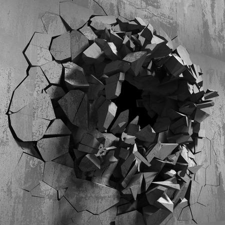 shiver: Dark cracked broken wall in concrete wall. Grunge background. 3d render illustration