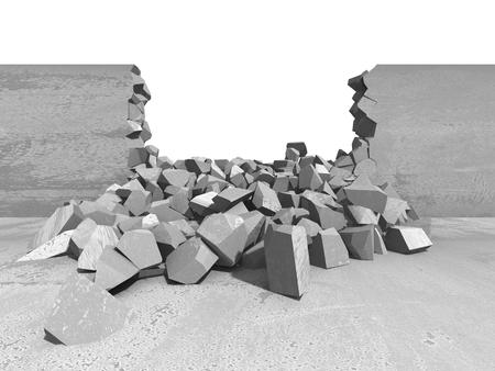 raze: Broken concrete wall. Demilition damage hole. 3d render illustration