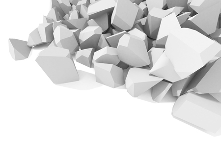 crack up: White demolition wall fragments. Abstract industrial background. 3fd render illustration Stock Photo